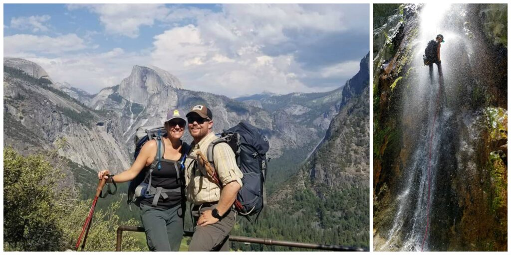 Margot Johnson backpacking with her boyfriend