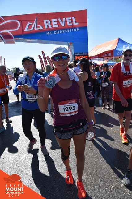 Lillian Bertram at the finish of the Revel Mt Charleston Marathon