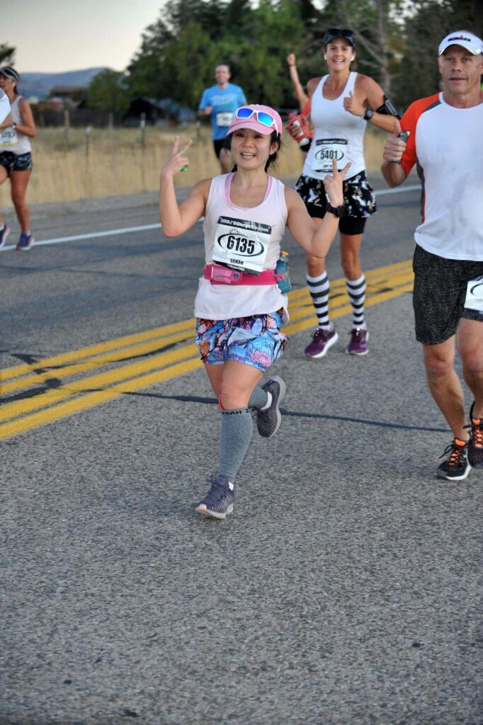 Sarah Lee running the St George Marathon