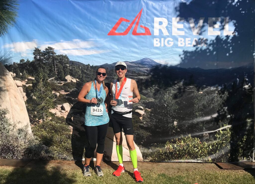 Joanna Pallo and Michael Tang at the finish of the REVEL Big Bear Marathon