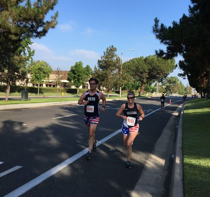 Kristen and Robert running in the 4th of July race