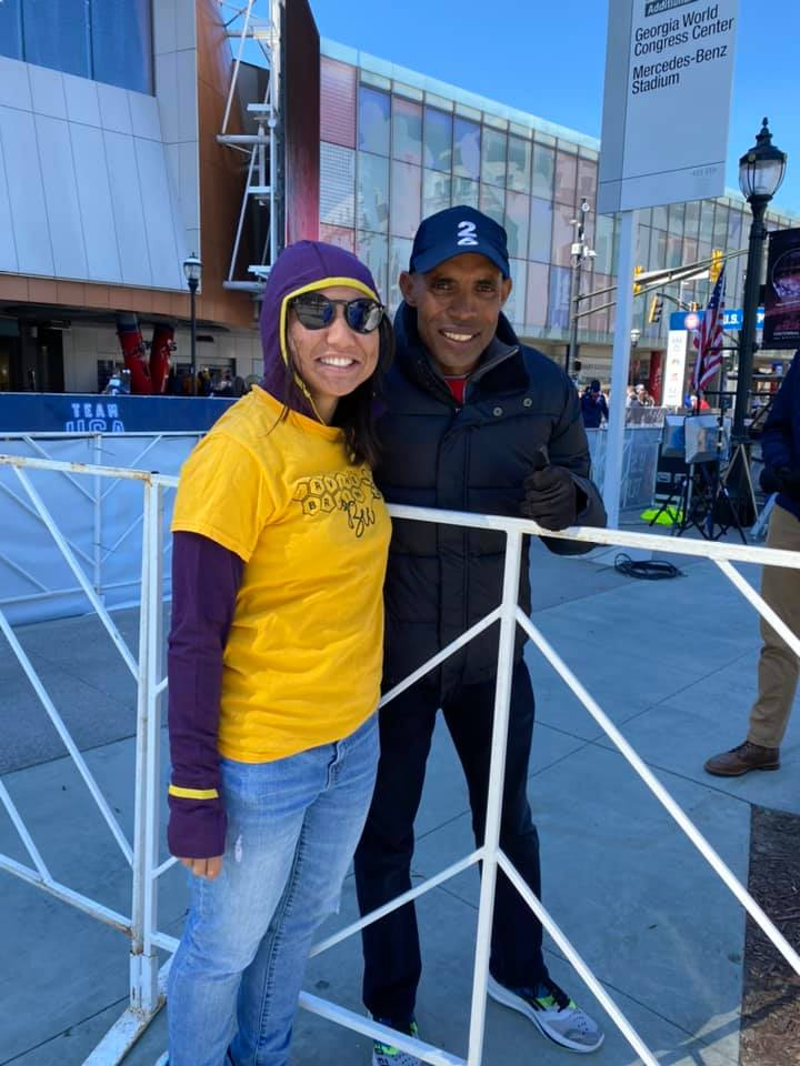 Michelle with Meb at the Olympic trials