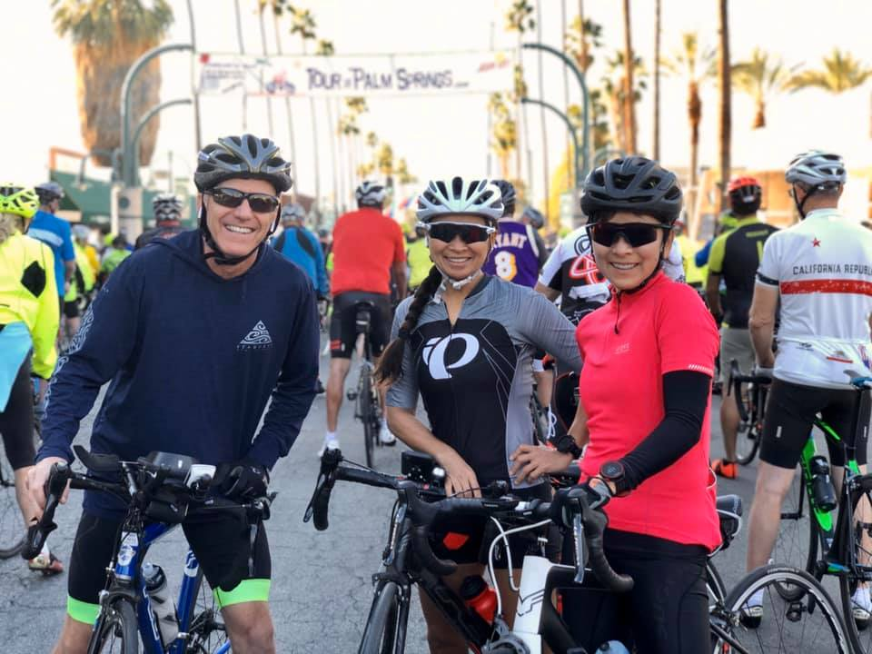 Mike Connors, Amy Dayao, and Noreene Matsuda at the Tour de Palm Springs