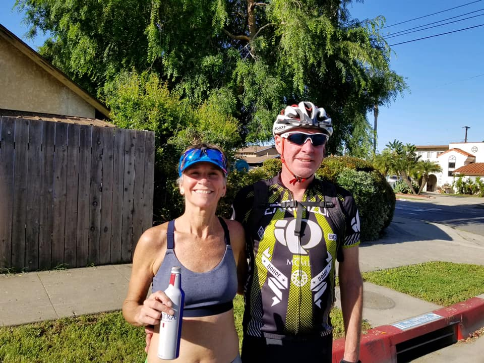 Sherri and Fred in his cycling kit after her race